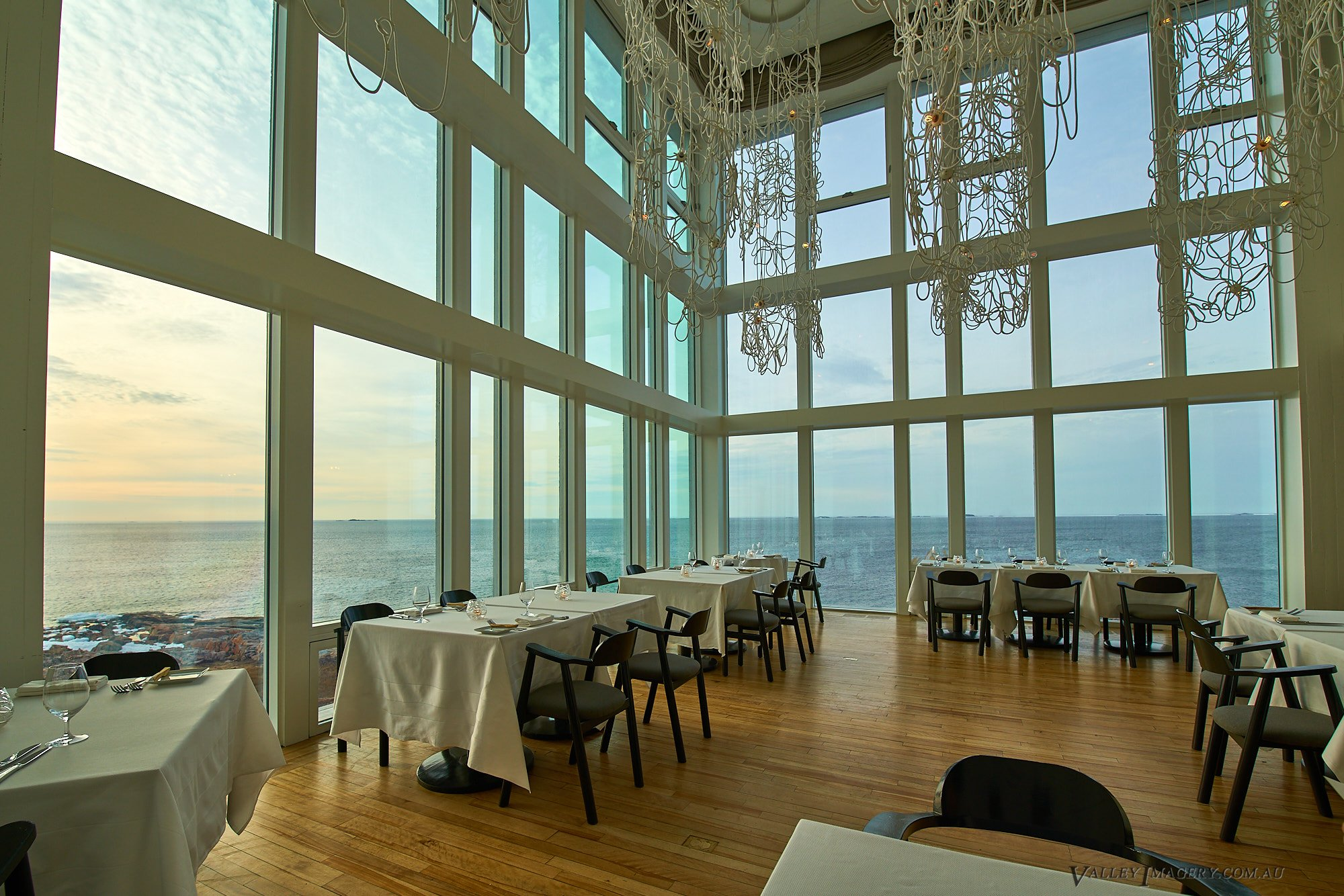 The dining room in the Fogo Island Inn.